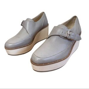 Zara Gray Leather Loafer Platform Creepers Shoes